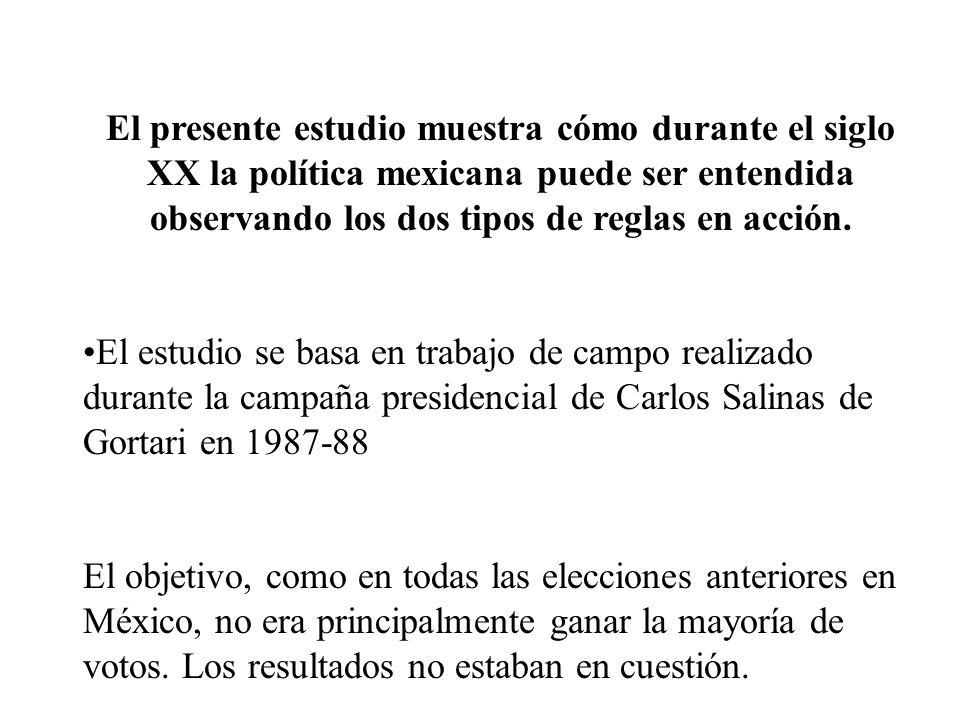 El presente estudio muestra cómo durante el siglo XX la política mexicana puede ser entendida observando los dos tipos de reglas en acción.