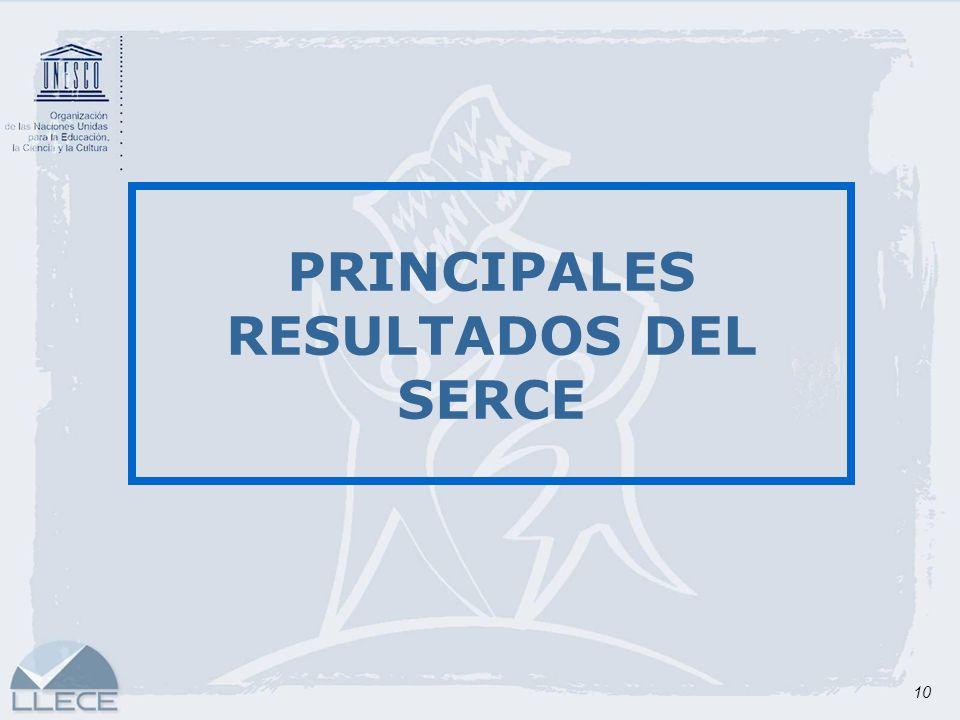 PRINCIPALES RESULTADOS DEL SERCE
