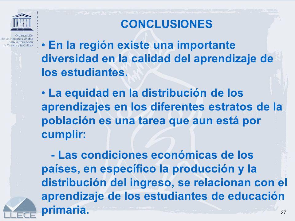 CONCLUSIONES En la región existe una importante diversidad en la calidad del aprendizaje de los estudiantes.