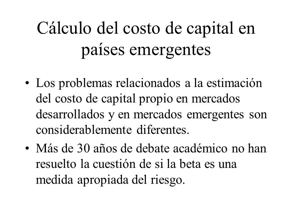 Cálculo del costo de capital en países emergentes
