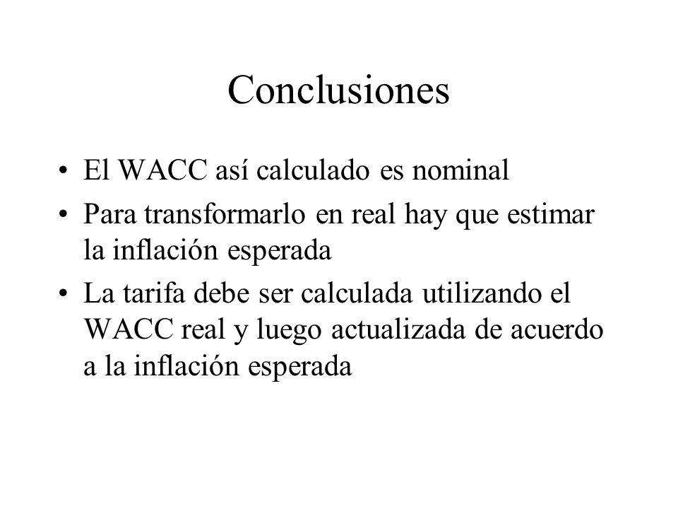 Conclusiones El WACC así calculado es nominal