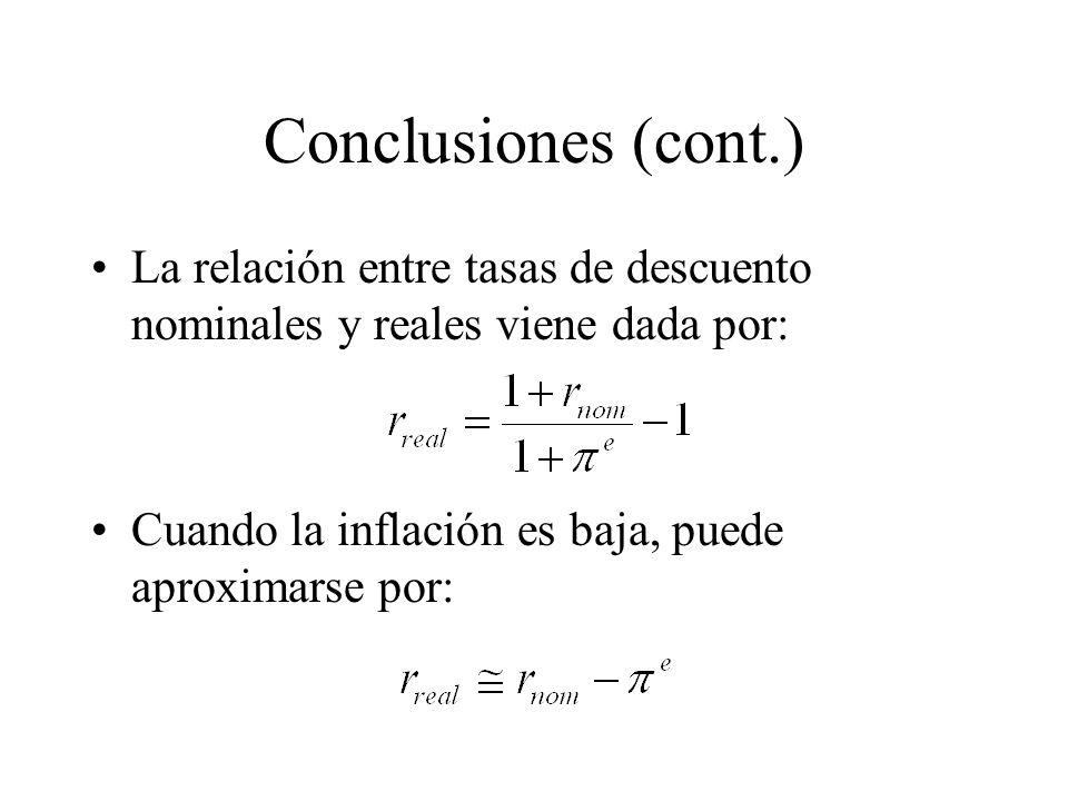 Conclusiones (cont.) La relación entre tasas de descuento nominales y reales viene dada por: Cuando la inflación es baja, puede aproximarse por:
