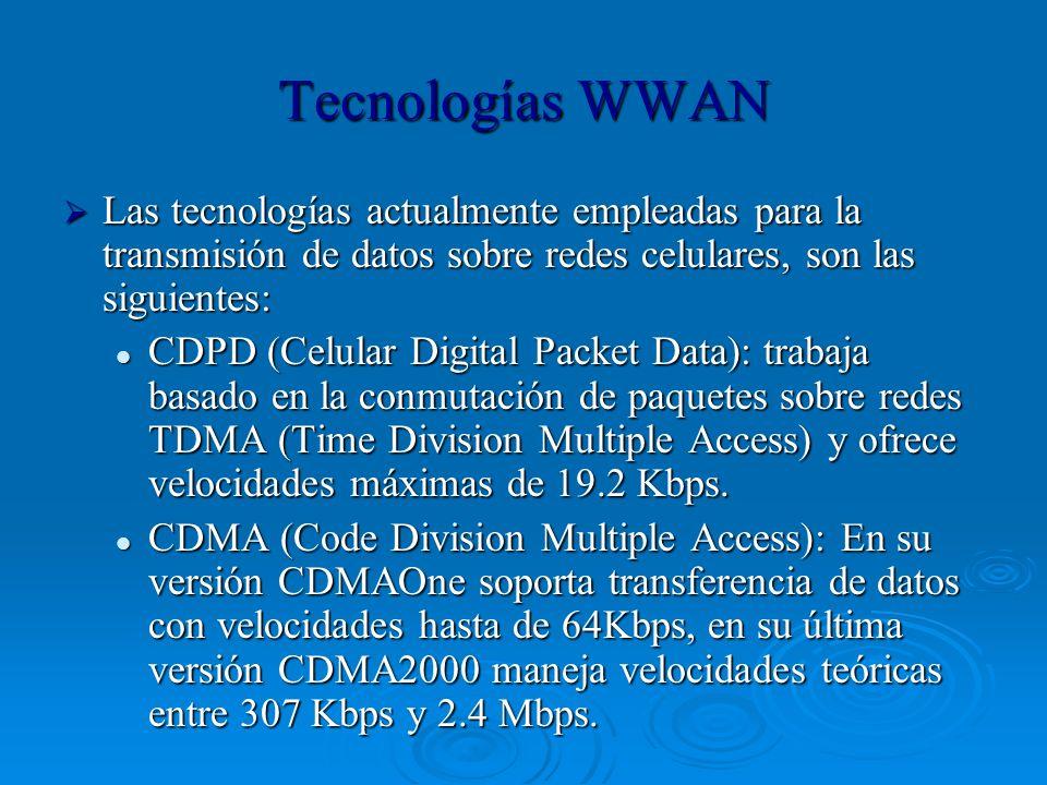 Tecnologías WWAN Las tecnologías actualmente empleadas para la transmisión de datos sobre redes celulares, son las siguientes: