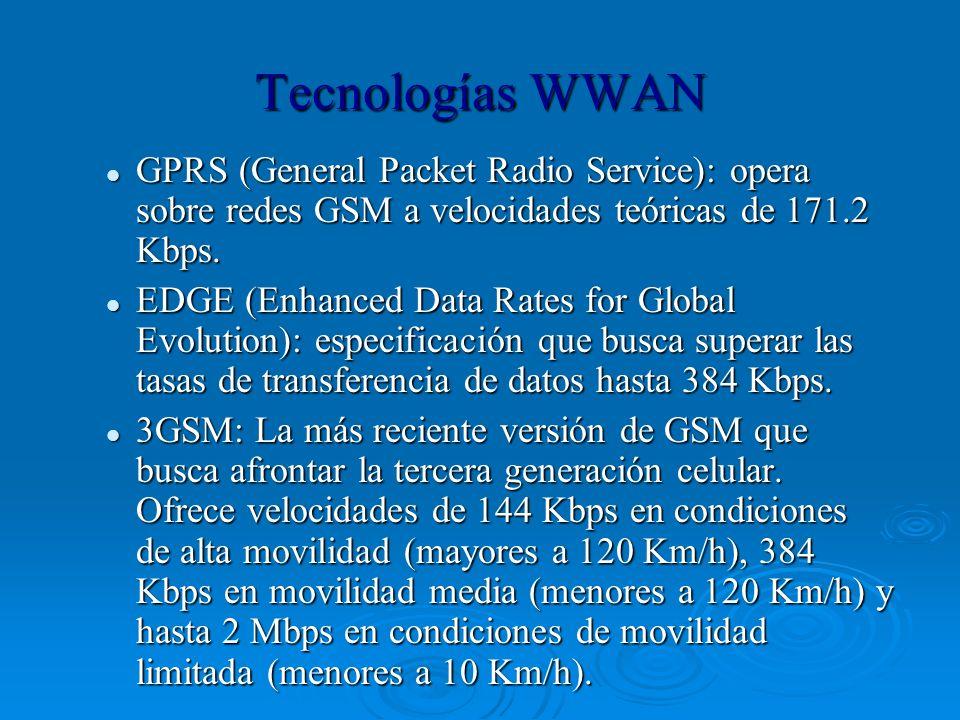Tecnologías WWAN GPRS (General Packet Radio Service): opera sobre redes GSM a velocidades teóricas de 171.2 Kbps.