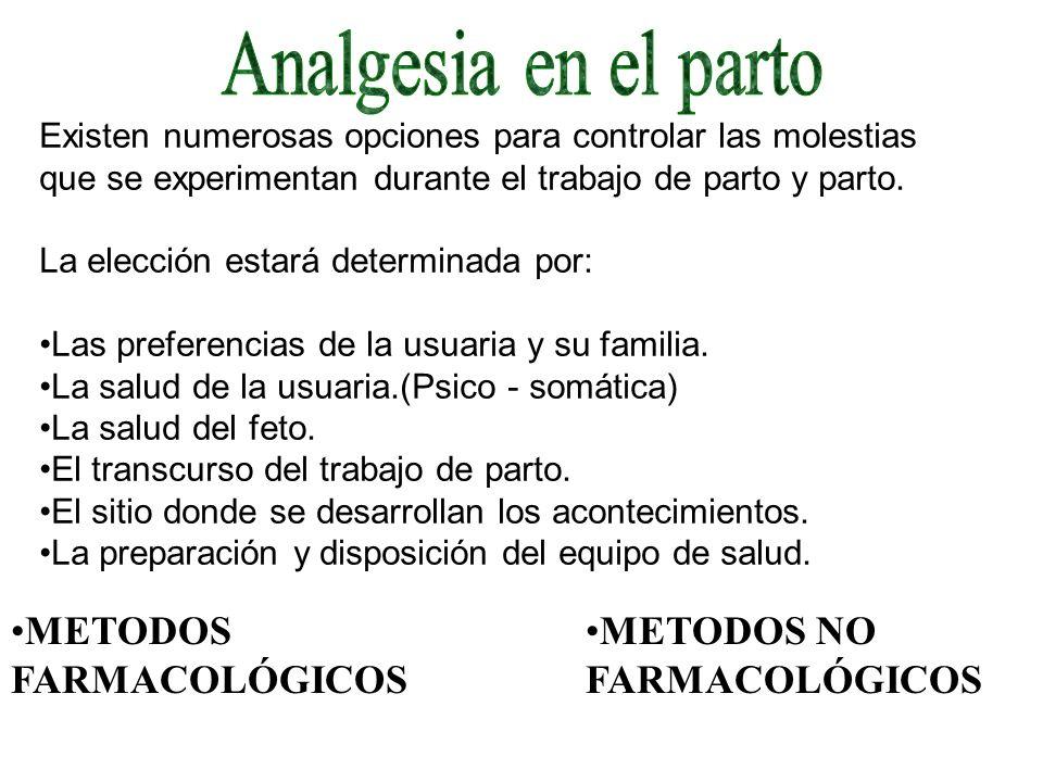 Analgesia en el parto METODOS FARMACOLÓGICOS METODOS NO FARMACOLÓGICOS