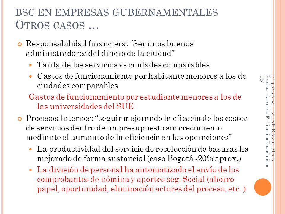 BSC EN EMPRESAS GUBERNAMENTALES Otros casos …