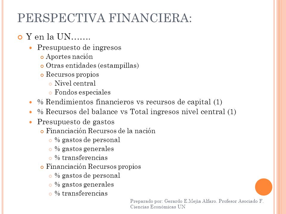 PERSPECTIVA FINANCIERA: