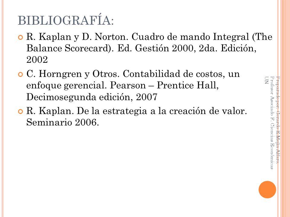 BIBLIOGRAFÍA: R. Kaplan y D. Norton. Cuadro de mando Integral (The Balance Scorecard). Ed. Gestión 2000, 2da. Edición, 2002.