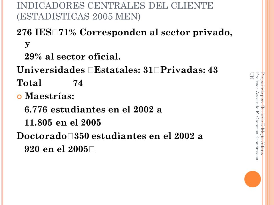 INDICADORES CENTRALES DEL CLIENTE (ESTADISTICAS 2005 MEN)