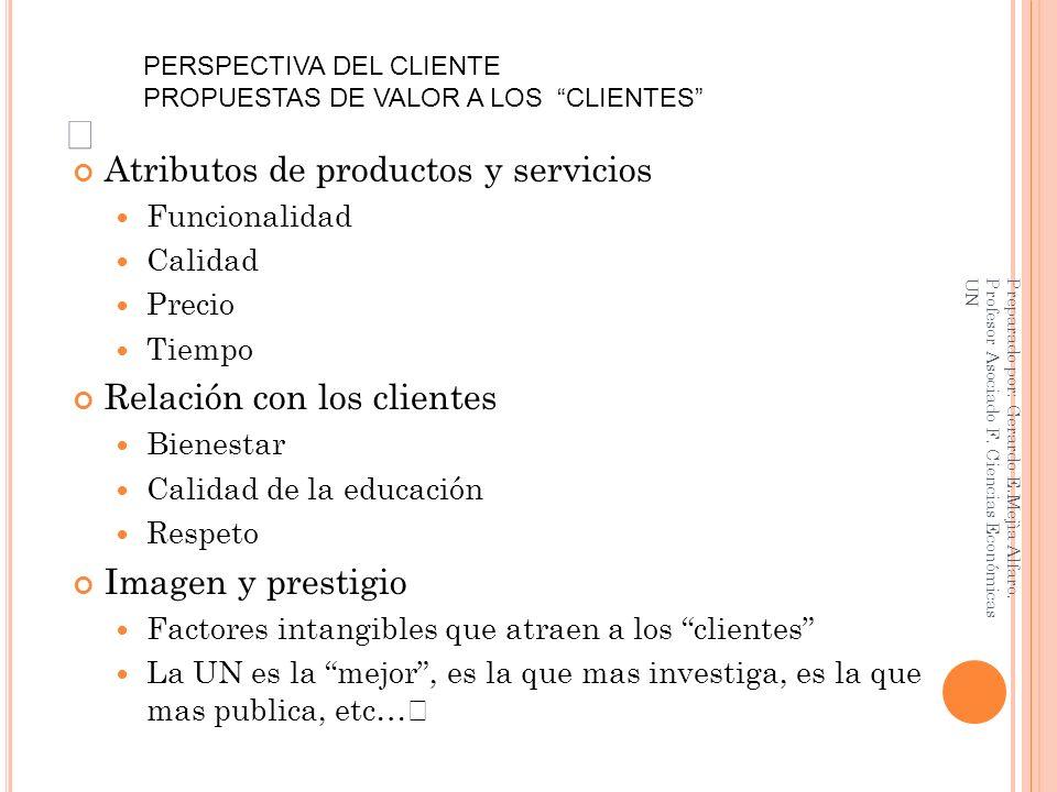 Atributos de productos y servicios Relación con los clientes