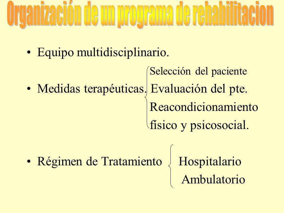 Organización de un programa de rehabilitacion