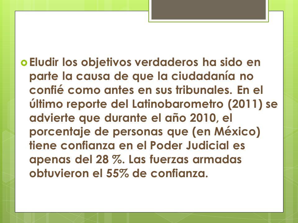 Eludir los objetivos verdaderos ha sido en parte la causa de que la ciudadanía no confié como antes en sus tribunales.