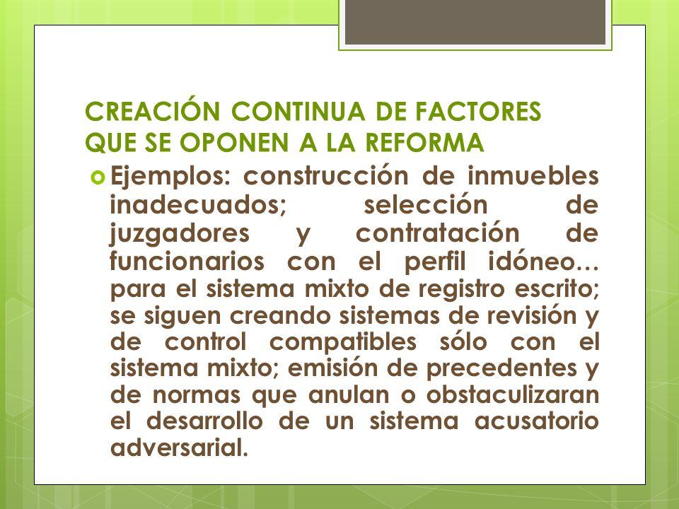 CREACIÓN CONTINUA DE FACTORES QUE SE OPONEN A LA REFORMA