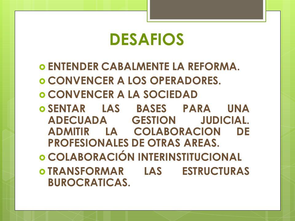 DESAFIOS ENTENDER CABALMENTE LA REFORMA. CONVENCER A LOS OPERADORES.