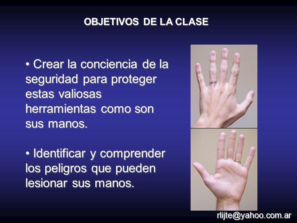 Identificar y comprender los peligros que pueden lesionar sus manos.
