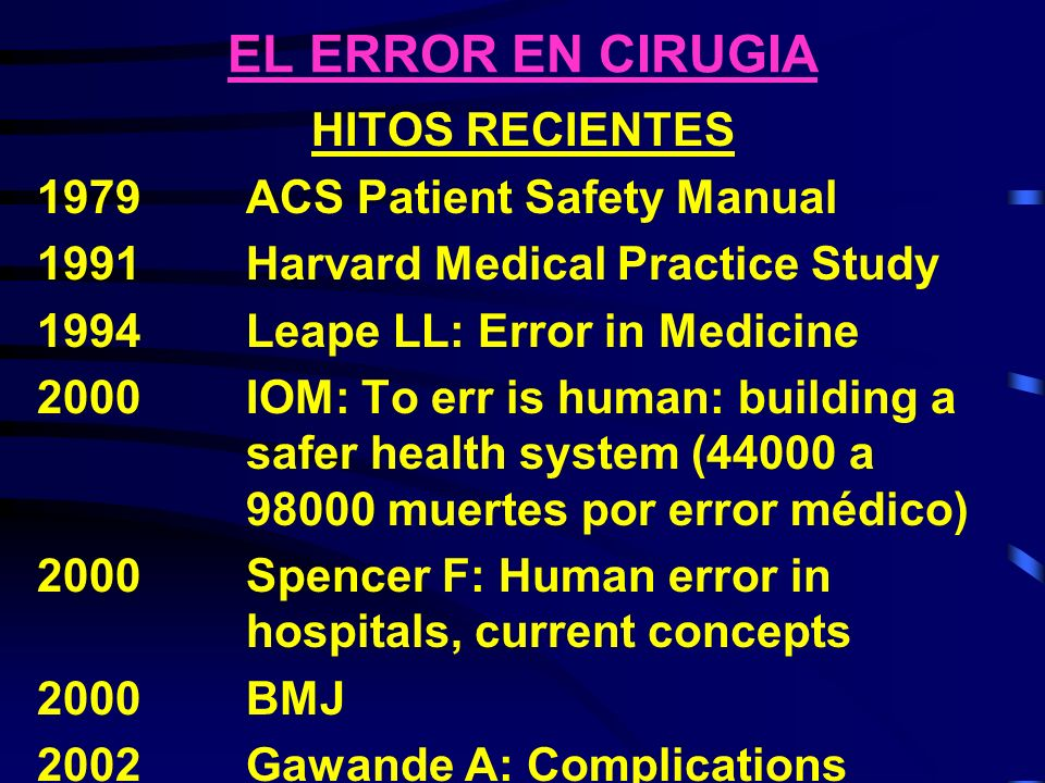 EL ERROR EN CIRUGIA HITOS RECIENTES 1979 ACS Patient Safety Manual