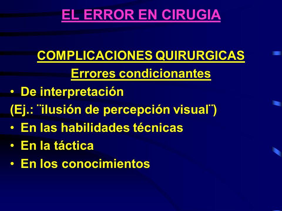 COMPLICACIONES QUIRURGICAS Errores condicionantes