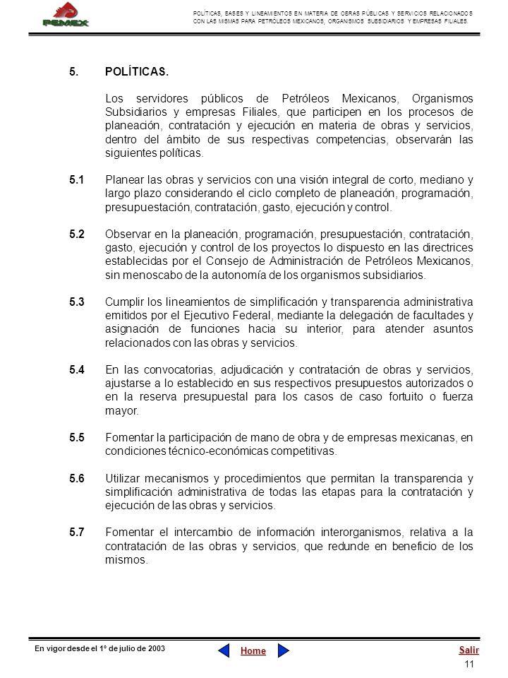5. POLÍTICAS.