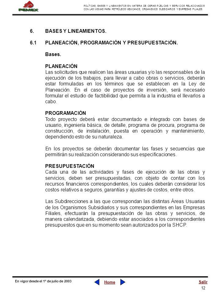 6. BASES Y LINEAMIENTOS.6.1 PLANEACIÓN, PROGRAMACIÓN Y PRESUPUESTACIÓN. Bases. PLANEACIÓN.