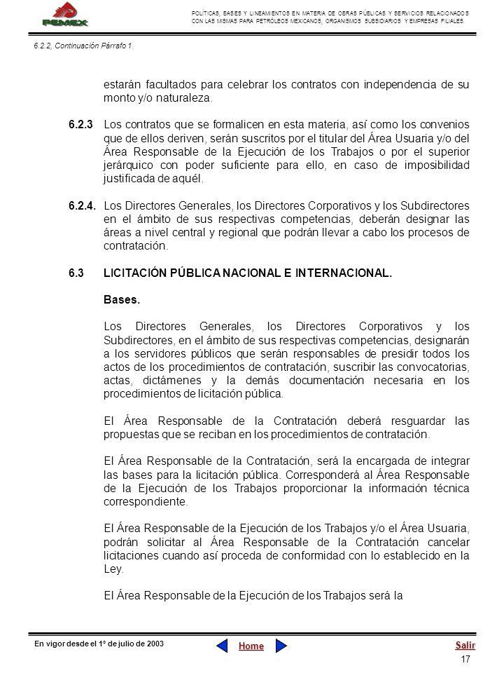 6.3 LICITACIÓN PÚBLICA NACIONAL E INTERNACIONAL. Bases.