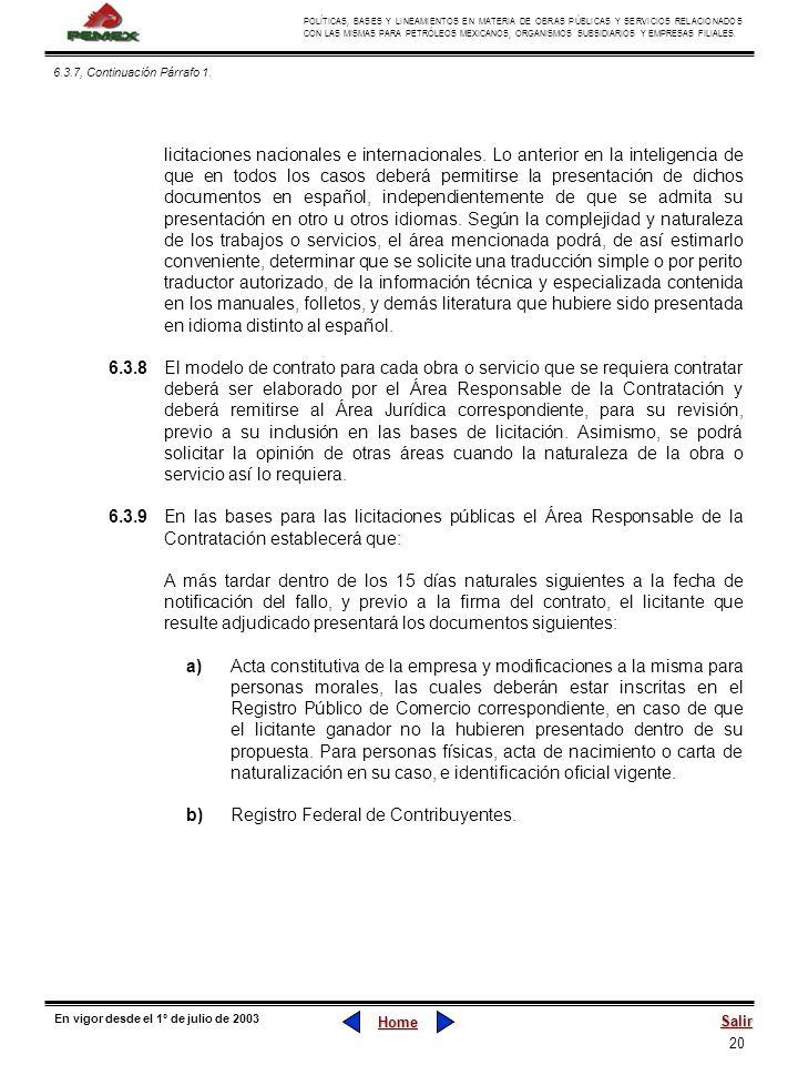 b) Registro Federal de Contribuyentes.