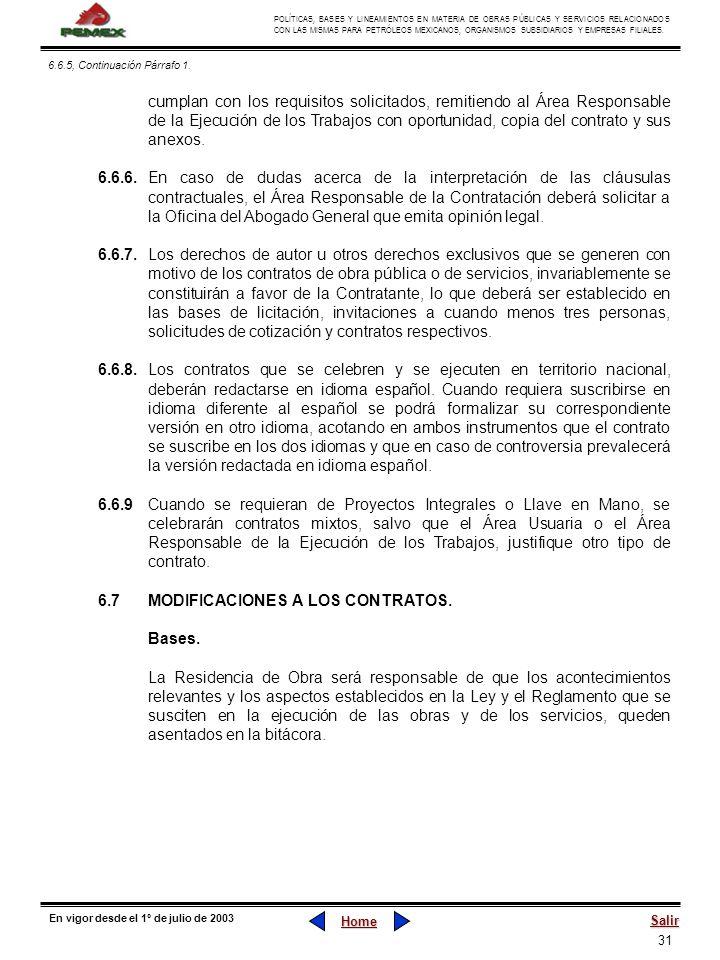 6.7 MODIFICACIONES A LOS CONTRATOS. Bases.