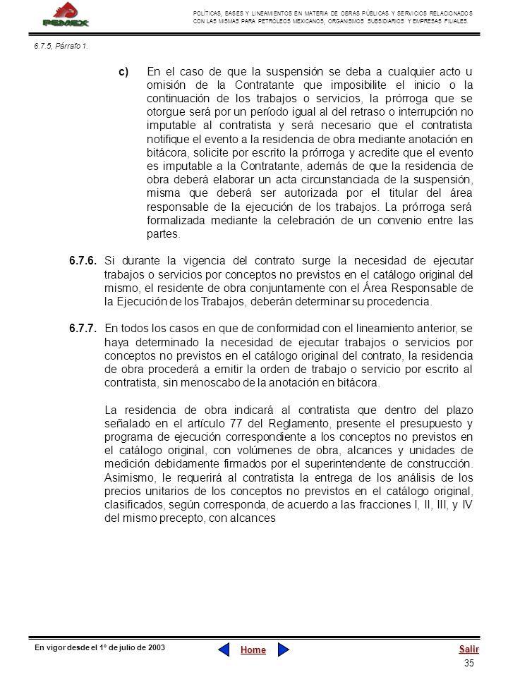 6.7.5, Párrafo 1.