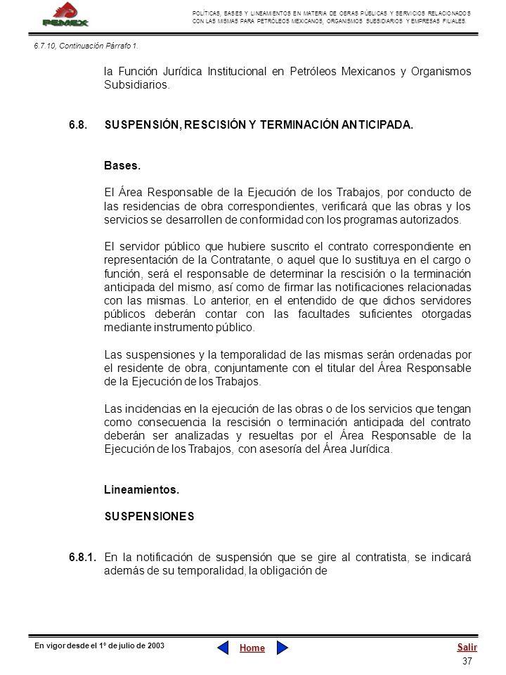 6.8. SUSPENSIÓN, RESCISIÓN Y TERMINACIÓN ANTICIPADA.