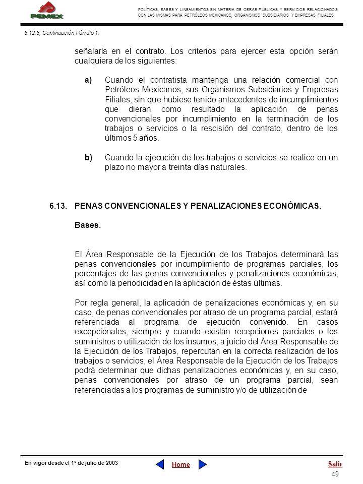 6.13. PENAS CONVENCIONALES Y PENALIZACIONES ECONÓMICAS. Bases.