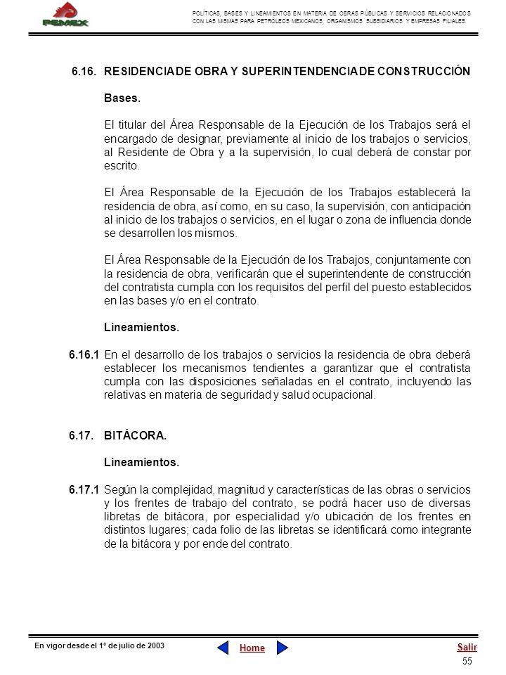 6.16. RESIDENCIA DE OBRA Y SUPERINTENDENCIA DE CONSTRUCCIÓN