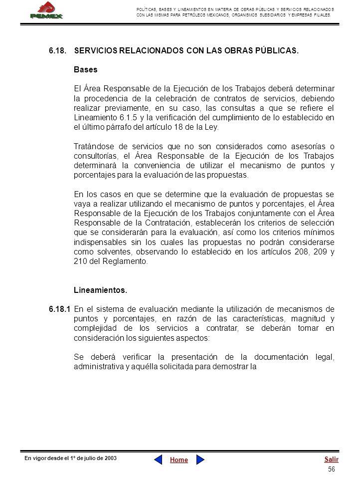 6.18. SERVICIOS RELACIONADOS CON LAS OBRAS PÚBLICAS.