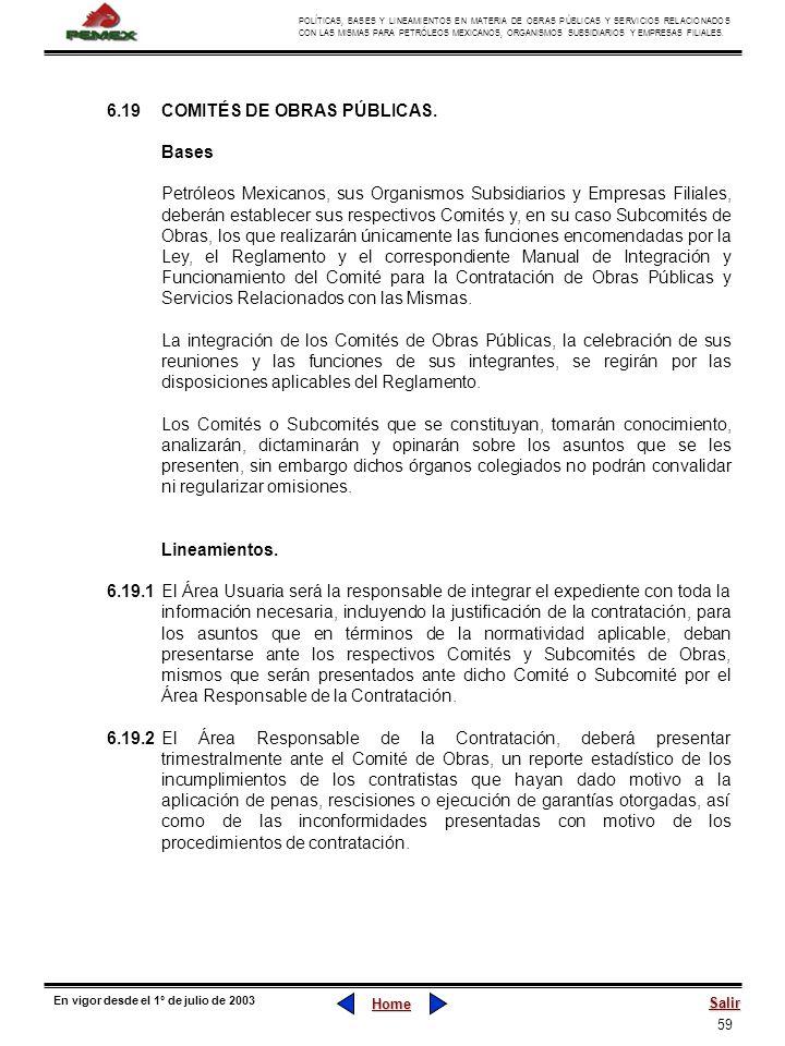 6.19 COMITÉS DE OBRAS PÚBLICAS.