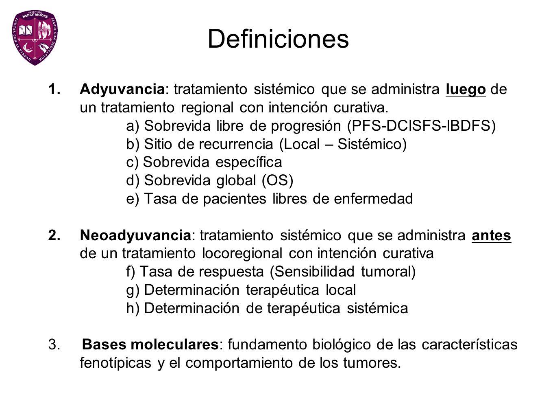 Definiciones Adyuvancia: tratamiento sistémico que se administra luego de un tratamiento regional con intención curativa.