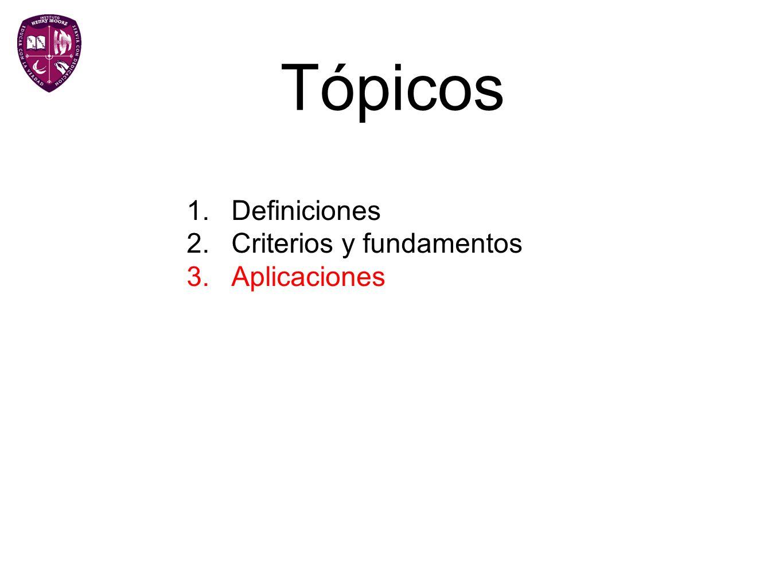 Tópicos Definiciones Criterios y fundamentos Aplicaciones