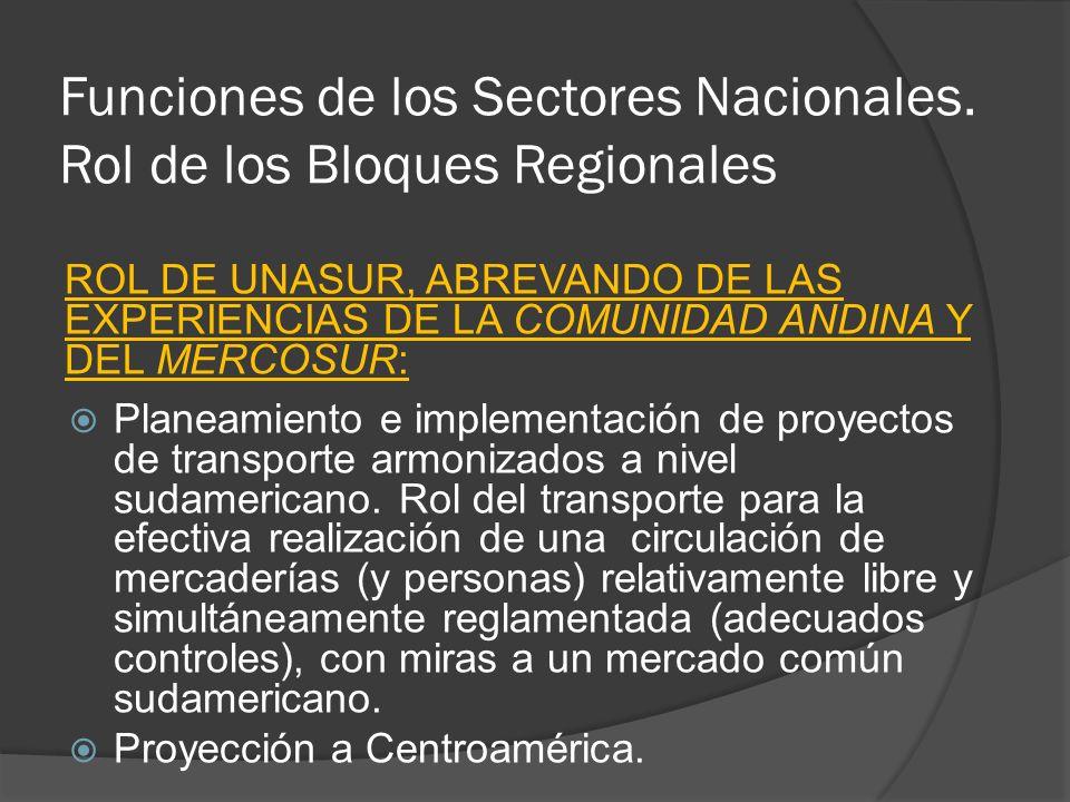 Funciones de los Sectores Nacionales. Rol de los Bloques Regionales