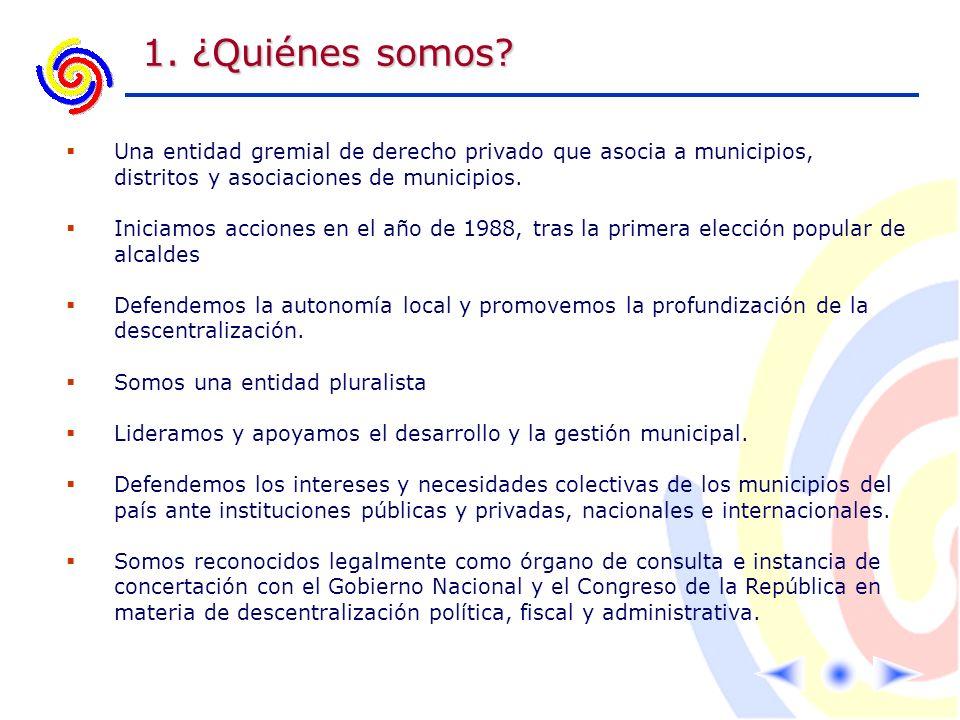 1. ¿Quiénes somos Una entidad gremial de derecho privado que asocia a municipios, distritos y asociaciones de municipios.