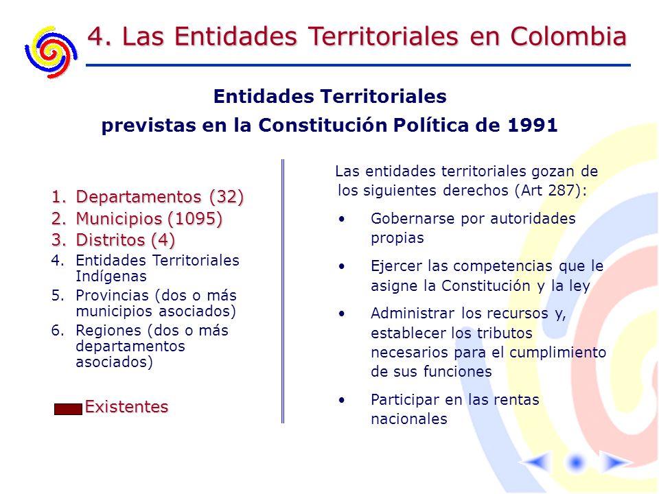 Entidades Territoriales previstas en la Constitución Política de 1991