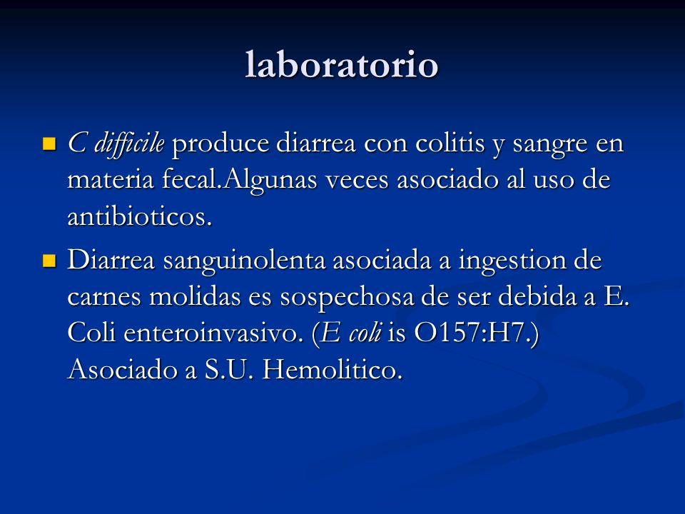 laboratorio C difficile produce diarrea con colitis y sangre en materia fecal.Algunas veces asociado al uso de antibioticos.