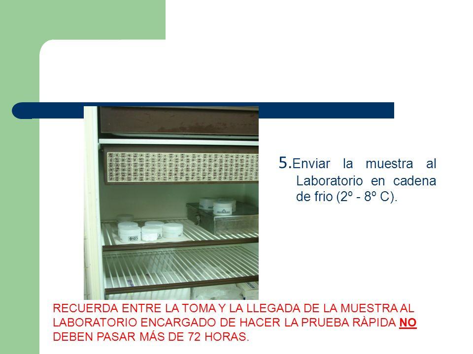 5.Enviar la muestra al Laboratorio en cadena de frio (2º - 8º C).