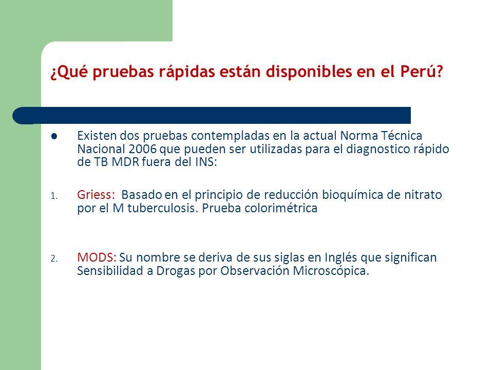 ¿Qué pruebas rápidas están disponibles en el Perú