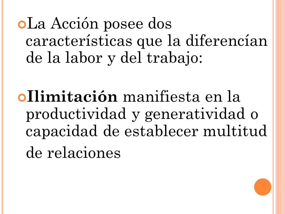 La Acción posee dos características que la diferencían de la labor y del trabajo: