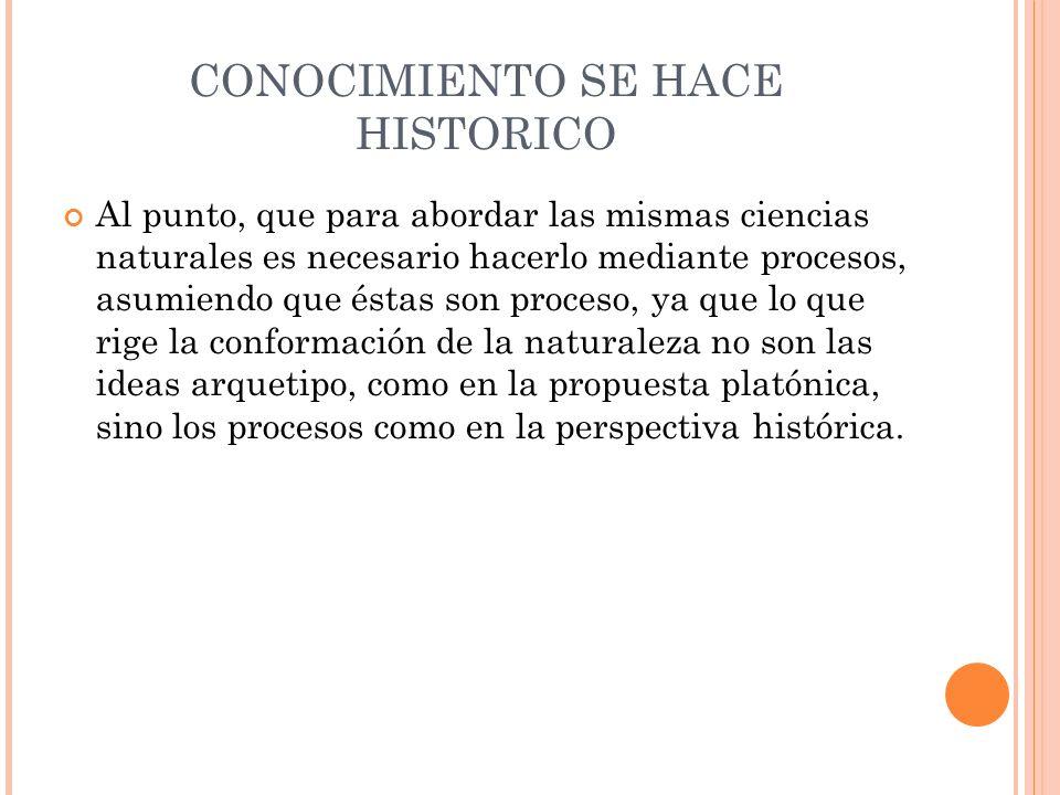 CONOCIMIENTO SE HACE HISTORICO