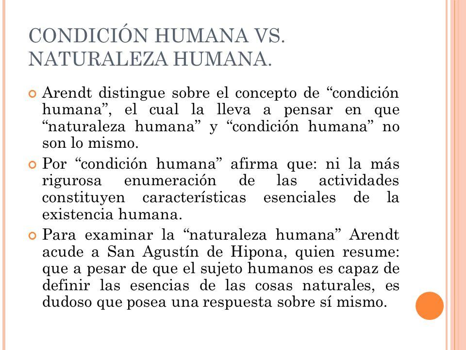 CONDICIÓN HUMANA VS. NATURALEZA HUMANA.