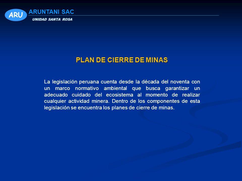 ARU PLAN DE CIERRE DE MINAS ARUNTANI SAC