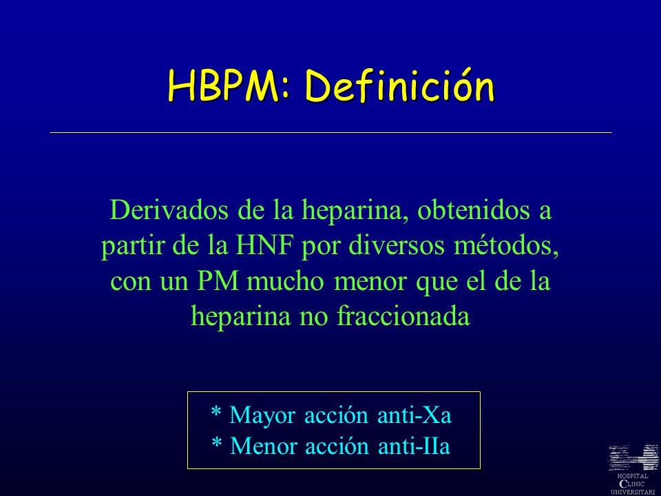HBPM: Definición Derivados de la heparina, obtenidos a partir de la HNF por diversos métodos, con un PM mucho menor que el de la.