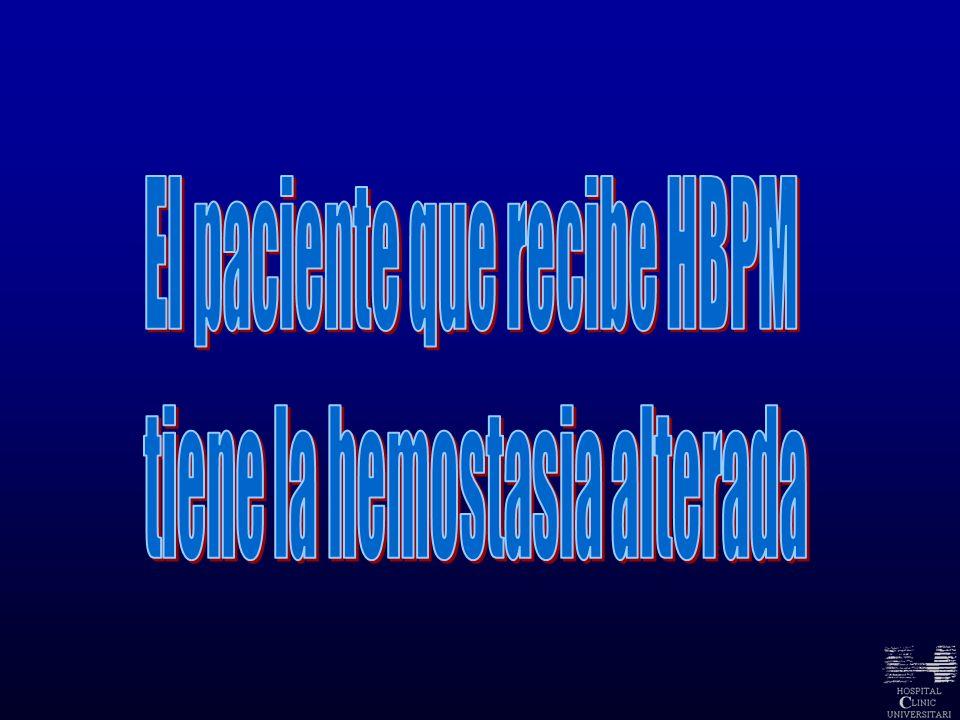 El paciente que recibe HBPM tiene la hemostasia alterada