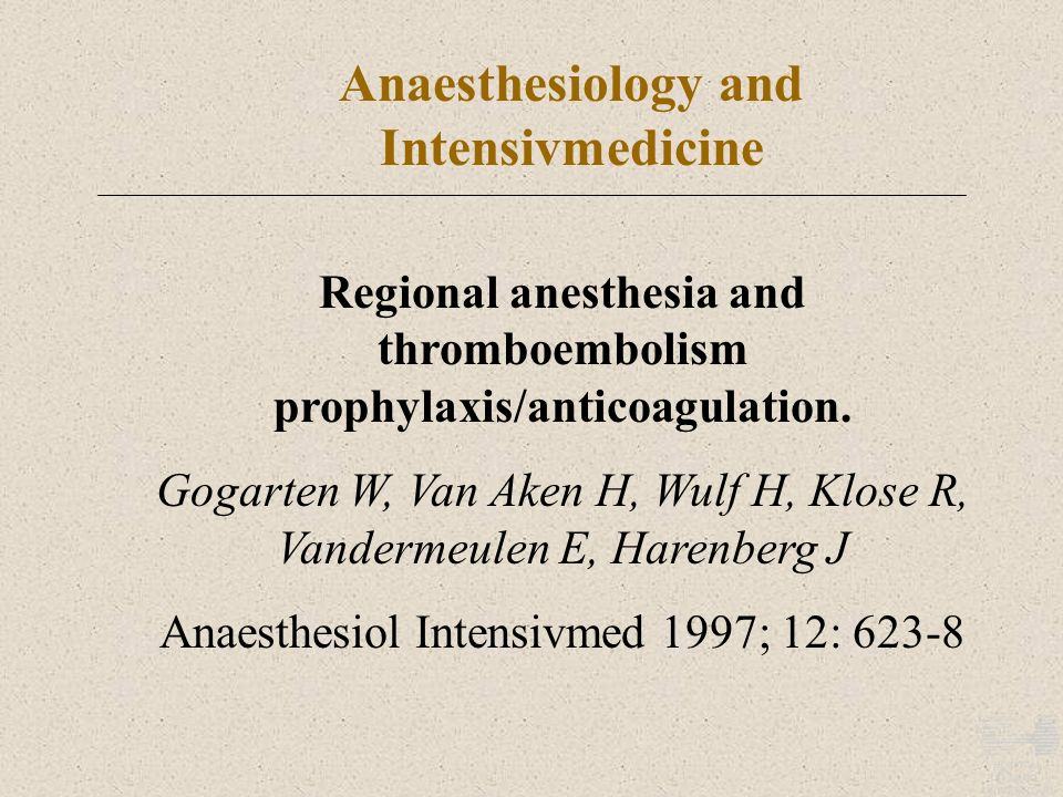 Anaesthesiology and Intensivmedicine
