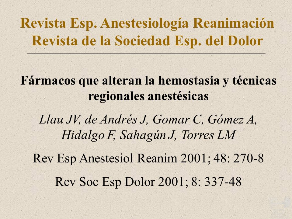 Revista Esp. Anestesiología Reanimación