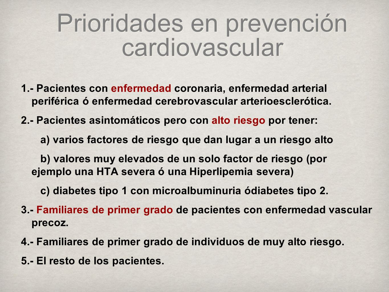 Prioridades en prevención cardiovascular