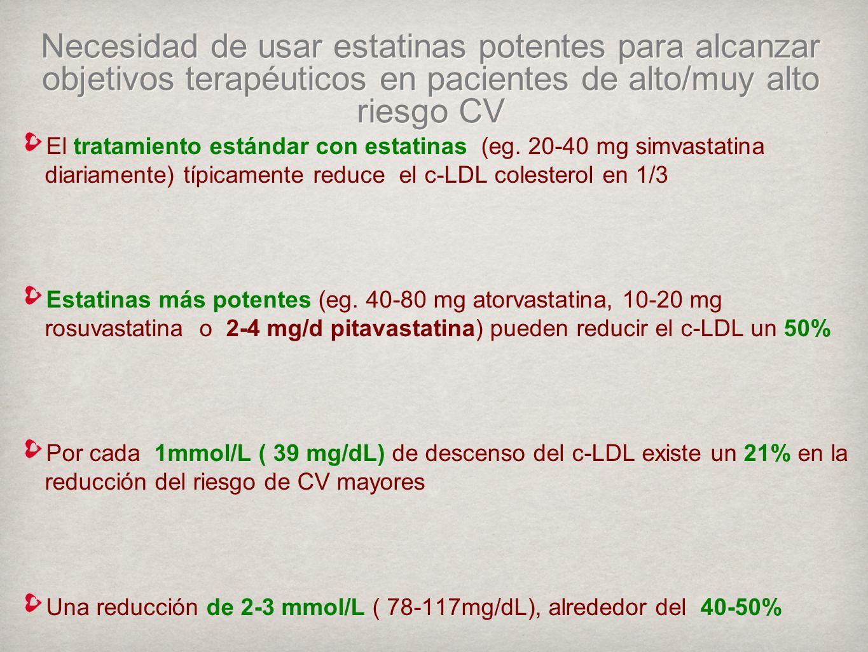 Necesidad de usar estatinas potentes para alcanzar objetivos terapéuticos en pacientes de alto/muy alto riesgo CV